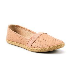 Sapato Alpargatas Perfuros Elástico Moleca Feminina Nude 37